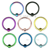 "PAIR 16G 1/4""-3/8"" PVD Plated Surgical Steel Captive Bead Ring Tragus Ear Septum"