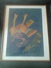 PEINTURE SUR SOIE - Casque Japonais -signature & sceau -encadré 1970 56 x 54 cm