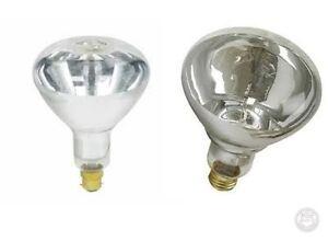 250w BC B22 ES E27 Push Or Screw In Infrared Clear Heat Bulb Lamp Soft Glass