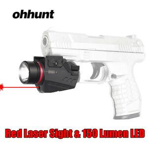 ohhunt 2 in 1 Red Laser Sight 150 Lumen LED Flashlight for 20mm Picatinny Rail