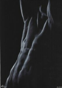 original drawing A3 11ADV art by samovar pastel male nude Signed 2020