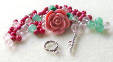 Polymer Clay Flower Bead Howlite Gemstone Beads Pink Pewter Bracelet Bead Kit