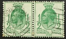 GB GV 1/2d green 1929 UPU Congress, SG 434, pair, used, Paddington 18/6/1929