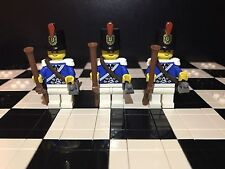 Lego Imperial Blue Coat Army Minifigures X3 With Musket Gun And Sword / Soldier
