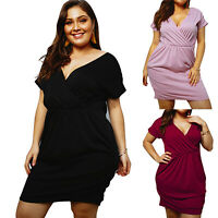 Womens V-Neck Short Sleeve Mini Dress Classic Elegant Cocktail Summer Plus Size