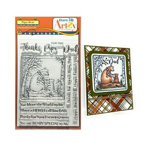 Dad Cling Stamps Papa Bear craft Dare 2B Artzy Words,Thanks,Hero,Father,Birthday