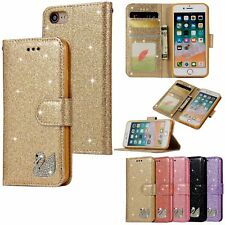 Sparkly Glitter Swan Leather Wallet Flip Case Cover For iPhone 5 6 6S 7 8 Plus X