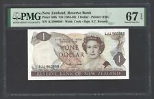 New Zealand One Dollar (1985-89) P169b Uncirculated Graded 67