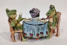 HEATHER GOLDMINC 2004 BLUE SKY | FROGS SITTING AT A TABLE EATING ICE CREAM
