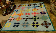 Beautiful Nine Patch Multi Color Patchwork Quilt ~ 66 X 86 ~ Perfect Condition