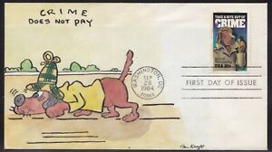 SCOTT 2102 CRIME BEN KRAFT HAND PAINTED FIRST DAY COVER FDC BACK THE BLUE