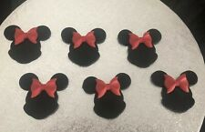 Cupcake Toppers Minnie Mouse Disney Style Sugar Ears Handmade Set Of 6 Birthday