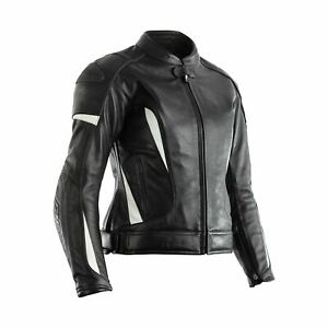 RST GT CE Approved Ladies Motorcycle Motorbike Premium Leather Jacket - White