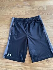 Boys L Under Armour Shorts Youth Large Black Gray VGUC