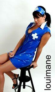 BLUE PVC NURSE **LOUIMANE**Sexy UNIFORM COSTUME DRESS OUTFIT sizes 8-22