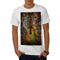 Wellcoda Colorful Guitar Mens T-shirt, Music Graphic Design Printed Tee