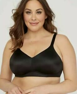 Catherines No Wire Back Smoother Bra Full Coverage Black Plus Size 52D