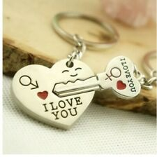 His and Hers I Love You Heart Couple Keychain Keyring Lover Gift