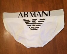 1 Pair NWOT White XL Emporio Armani Brief Mega BIG EAGLE Logo Cotton Stretch Gay