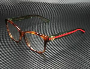 GUCCI GG0038O 002 Rectangular Square Havana Demo Lens 54 mm Women's Eyeglasses