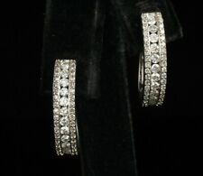 KAYS JEWELERS NATURAL 1.0ctw DIAMOND 14K WHITE GOLD LONG HUGGIE HOOP EARRINGS
