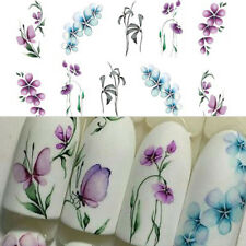 2Pcs Romantic Flower Butterfly Nail Art Water Decal Transfer Stickers French