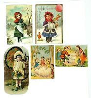 Victorian Scrap 1880s Vintage Die Cut 5 Pc Boy Girl Children EASTER WINTER