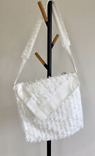 White Jacquard Tote Bag | Crossbody Bag | Unique Design Special Canvas Bag