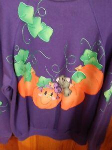 Hand Appliqued & Painted Tultex Purple Sweatshirt HALLOWEEN- Large FREE SHIPPING