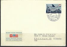 Switzerland, Flight Cover, Maiden Voyage of Swissair to US, Lot 5-12