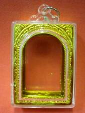 Empty Case Acrylic Plastic Casing Phra Somdej Buddha Amulet Pendant 43x31 mm.