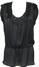 NWT Allison Morgan Plus 2X BLACK Roll-Tab Cap Sleeve Blouse