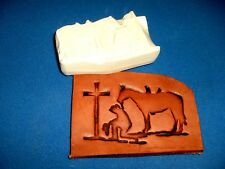 """Cowgirl At The Cross Leather Emboss Plate 3 3/8"""" x 2"""""""