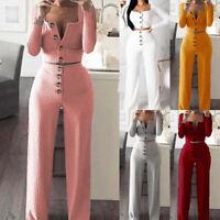 2Pcs Simple Women V-Neck Long Sleeve Crop Top Knitted Wide Leg Pants Jumpsuit
