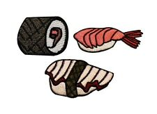 Set of 3 Sushi Patch Nigiri & Maki Japanese Food Asian Cuisine Iron-On Applique