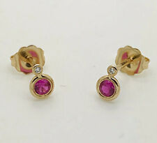 Yellow Gold Natural Ruby & Diamonds Gypsy Setting Stones Stud Earrings