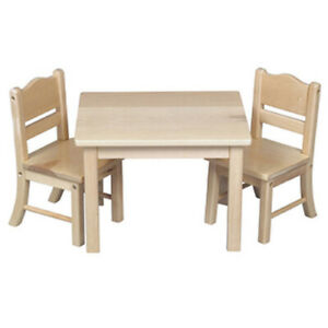 """New - Wooden Table & Chairs (Natural) for 18"""" American Girl Dolls by Guidecraft"""