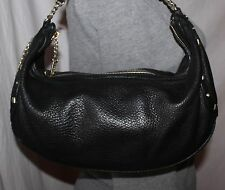 JUICY COUTURE Small Black Leather Shoulder Hobo Tote Satchel Slouch Purse Bag