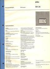 Braun Service Manual für SK 25 Kleinsuper