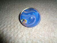 Hand blown studio art glass paperweight D. Bagwell 1991 blue pink yellow swirls