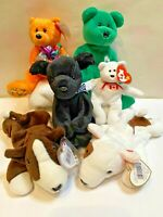 TY Beanie Baby Babies Lot Animals Bears and dogs. Happy birthday Mini Maple