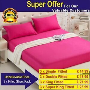 3 x Extra Deep 25cm Fitted Sheet Set 100% Poly Cotton Single Double King Super
