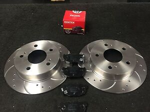 FOR NISSAN 200SX S14 DRILLED GROOVED REAR BRAKE DISCS  MINTEX PADS