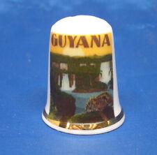 Birchcroft China Thimble - Travel Poster Series - Guyana - Free Dome Gift Box
