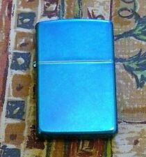 PLAIN REGULAR CERULEAN ZIPPO LIGHTER FREE P&P FREE FLINTS