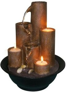 Tabletop Fountain 9 in. L x 9 in. W x 11 in. H Tiered Column with 3 Candles