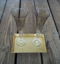 Vintage Smoked Gold Crackle Glass Champagne Flutes Glasses Pair with Gold Tray