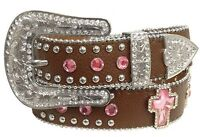 Showman Couture XS/SM Western Brown Belt Pink Crystal Rhinestone Cross Conchos