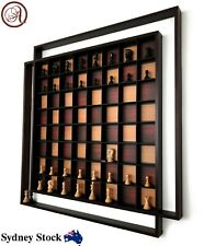 AMBRIZZOLA Quadretti Wooden Wall Chess Set with Quality Hand Carved Chess Pieces