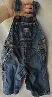 Oshkosh B'Gosh Sz 6-9 Months Bib Overalls Denim Vestback Jeans Vintage USA C4